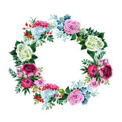 Bouquet flower wreath in a watercolor style. Full name of the plant: rose, peony. Aquarelle wild flower for background, texture, wrapper pattern, frame or border.
