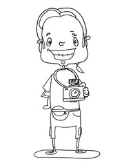 photographer illustration cartoon drawing and white background