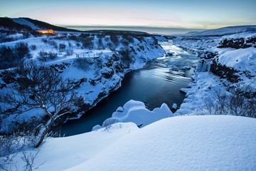 Hraunfossar waterfall in winter, Iceland.