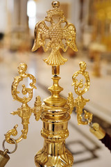 beautiful gold decor in the Russian Orthodox Church close up