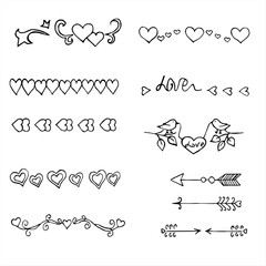 Hand Drawn Doodle Borders set, decorative elements and frames.