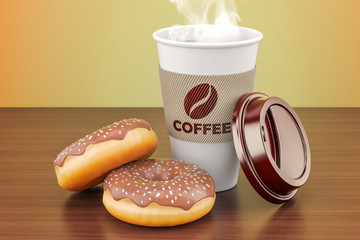 Disposable cup of coffee with chocolate donuts on the wooden table. 3D rendering