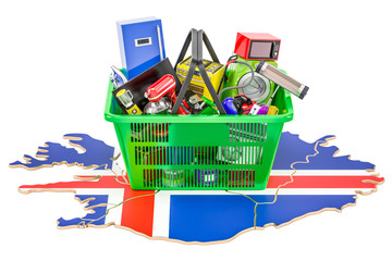 Map of Iceland with shopping basket full of home and kitchen appliances, 3D rendering