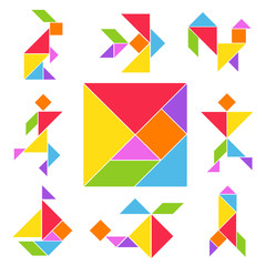 Tangram game set