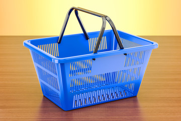 Shopping basket on the wooden table. 3D rendering