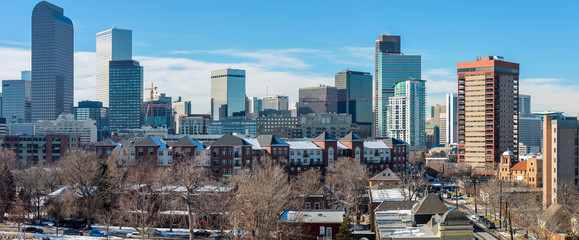 Winter City -  A panoramic winter cityscape of east-side of Downtown Denver. Colorado, USA.