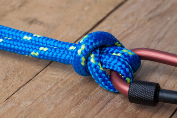 Bull Hitch Knot with Blue Rope on Carabiner, Close Up