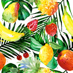 Exotic composition healthy food pattern in a watercolor style. Full name of the fruit: apple, pear, cherry, lemon, pineapple. Aquarelle wild fruit for background, texture, wrapper pattern or menu.