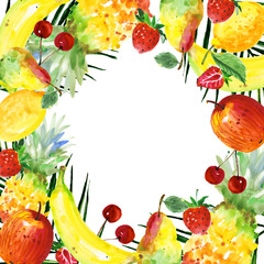 Exotic composition healthy food frame in a watercolor style. Full name of the fruit:apple, pear, cherry, lemon, strawberry. Aquarelle wild fruit for background, texture, wrapper pattern or menu.
