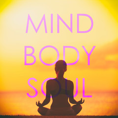 "Yoga social media creative design with the words ""MIND BODY SOUL"" written over fitness girl meditating at beach doing lotus pose in meditation on sunset background. Inspirational quotes."