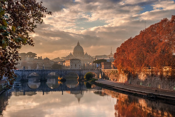 Autumn sunset in Rome with Saint Peter dome