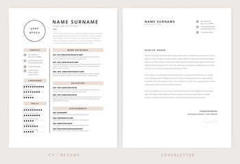 CV / resume and cover letter template - elegant stylish design vector