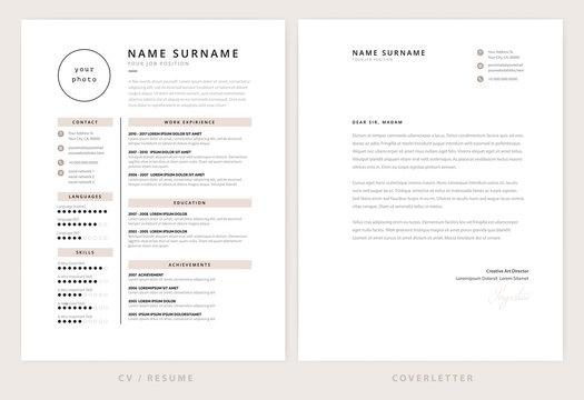 CV / resume and cover letter template - elegant stylish design vector