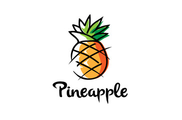 Creative Artistic Pineapple Fruit Logo Symbol Design Illustration