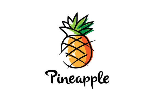 Creative Artistic Pineapple Fruit Logo Symbol Design Illustration
