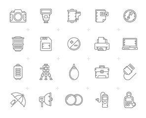 Line Camera equipment and photography icons - Vector Icon Set