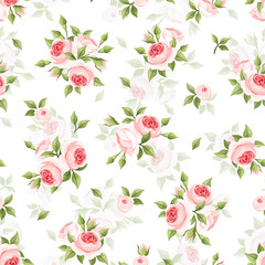 Vector seamless pattern with pink roses on a white background.