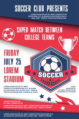Soccer sport match of football championship poster