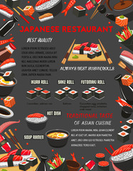 Japanese restaurant sushi and hot dishes menu