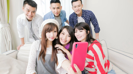 young people selfie happily