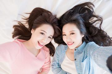 two beauty woman selfie