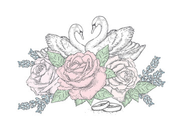 Beautiful swans, roses and wedding rings. Wedding. Vector illustration for a postcard or a poster. Celebration.