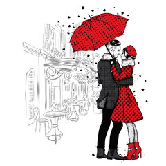 Loving couple under an umbrella. Beautiful guy and the girl in fashionable clothes. Vector illustration for a card or poster. Fashion & Style.