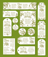 Olive oil tag and labels set