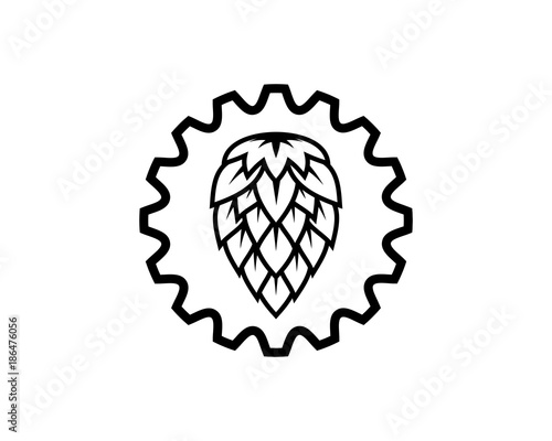 Line Art Gear Factory And Hop Fruits For Make A Wine Or Beer Symbol