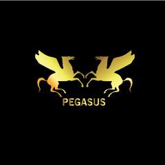 Pegasus Gold Logo Vector Template Design