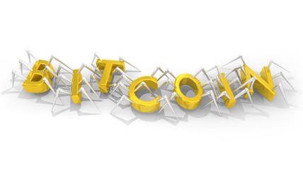 Bitcoin Internet Currency Money Bugs Spiders Virus 3d Illustration