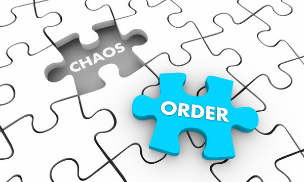 Order Vs Chaos Puzzle Piece Fill Hole 3d Illustration