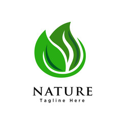 abstract green leaf logo
