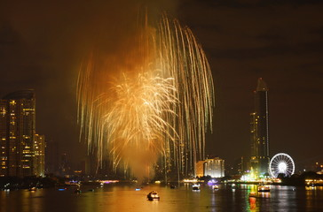 new year celebration fireworks on river in Thailand