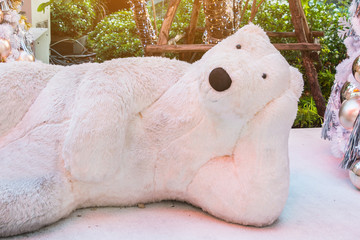 White Christmas decoration with silver & golden balls on fir branches with polar bear. Winter celebrate for Christmas & New Year, Thailand