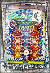 Foto op Aluminium Imagination Manoscritto e disegni con simboli esoterici,astrologici,alchemici e pianta magica