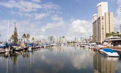 Bright Sunny Day Waikiki Ala Wai Boat Harbor Honolulu Haiwaii
