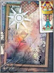 Photo sur Plexiglas Imagination Sfondo misterioso con collage,tarocchi,cuore a pois,sole e formule chimiche
