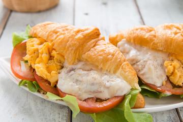 Breakfast Croissant stuffed scrambled eggs and tuna