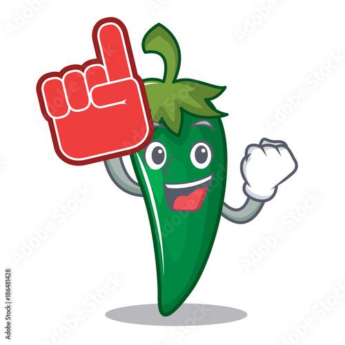 Cartoon Characters 3 Fingers : Quot foam finger green chili character cartoon stock image