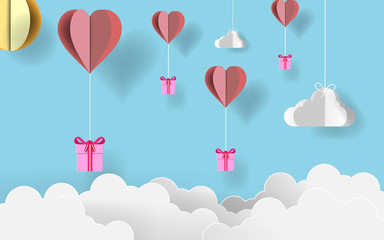 paper art valentine's day. Paper origami gifts flying with origami paper heart balloons in candy blue sky. vector illustration. EPS 10