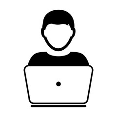 User Icon Vector With Laptop Computer Male Person Profile Avatar for Business and Online Communication Network in Glyph Pictogram Symbol illustration