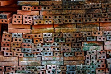 Asian Traditional Brick, Red Brick or Mon Brick for background, texture stock photo