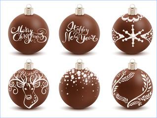 Set brown chocolate christmas ball. Sweet festive decoration