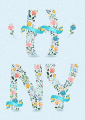 Happy New Year. Floral Letters with Blue Ribbons