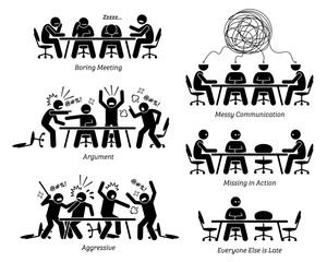Executives having ineffective and inefficient meeting and discussion. The businessmen have a boring meeting, messy communication, argument, and a fight. Business partner is also late for the meeting.