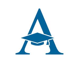typography graduate hat square academic cap image icon logo vector