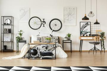 White bike in bedroom