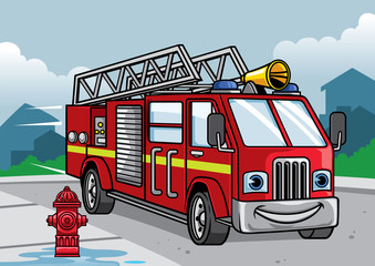 cartoon of firefighter truck illustration