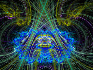 Graphic Design. Magic energy multicolored fractal. 3D rendering.